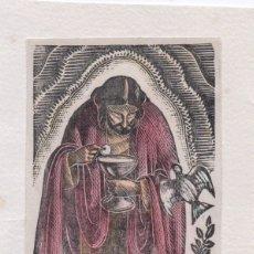 Arte: XILOGRAFÍA ORIGINAL EN PRUEBA DE ENSAYO DE ENRIC C RICART. PANIS VITAE, COLOREADA. Lote 172813217