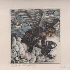 Arte: XILOGRAFÍA ORIGINAL EN PRUEBA DE ENSAYO DE ENRIC C RICART. ÁNGEL CON CÁLIZ. Lote 172815632