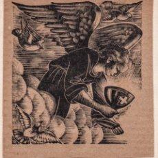 Arte: XILOGRAFÍA ORIGINAL EN PRUEBA DE ENSAYO DE ENRIC C RICART. ÁNGEL CON CÁLIZ. Lote 172816832