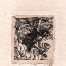 Arte: XILOGRAFÍA ORIGINAL EN PRUEBA DE ENSAYO DE ENRIC C RICART. ÁNGEL CON CÁLIZ. Lote 172817930
