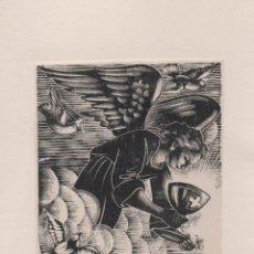 Arte: XILOGRAFÍA ORIGINAL EN PRUEBA DE ENSAYO DE ENRIC C RICART. ÁNGEL CON CÁLIZ. Lote 172818584