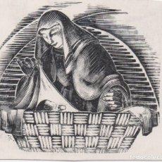 Arte: XILOGRAFÍA ORIGINAL DE ENRIC C RICART. CHRISTUS NATUS EST NOBIS VENITE ADOREMUS. ABAD DE POBLET. Lote 172819142