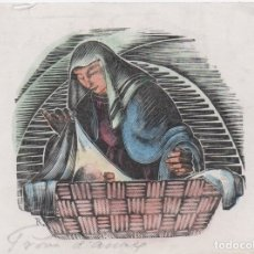 Arte: XILOGRAFÍA ORIGINAL DE ENRIC C RICART. CHRISTUS NATUS EST NOBIS VENITE ADOREMUS. ABAD DE POBLET. Lote 172819418