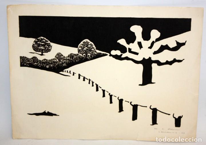 MARIA JOSEFA COLOM -XILOGRAFIA - LAUSANNE 1967. (Arte - Xilografía)