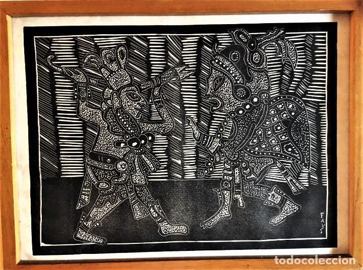SALVADOR SANZ FAUS (1918-1997) XILOGRAFIA 40 X 50 .AÑOS 60 (Arte - Xilografía)