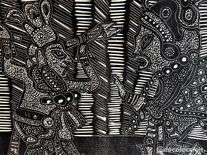 Arte: SALVADOR SANZ FAUS (1918-1997) XILOGRAFIA 40 x 50 .AÑOS 60 - Foto 3 - 174188748