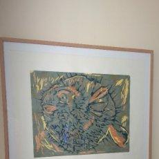 Arte: XILOGRAFÍA A PLANCHA PERDIDA DE 5 COLORES, PEZ GLOBO. Lote 176806458