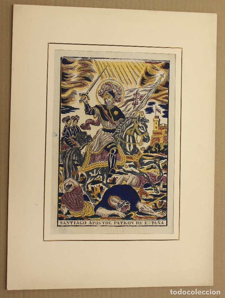 Arte: XILOGRAFIA ESTAMPADA AL BAC SANTIAGO APOSTOL DE ESPAÑA. CIRCA 1830 - Foto 2 - 177136353