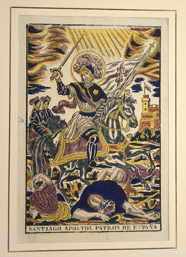 XILOGRAFIA ESTAMPADA AL BAC SANTIAGO APOSTOL DE ESPAÑA. CIRCA 1830 (Arte - Xilografía)
