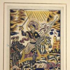Arte: XILOGRAFIA ESTAMPADA AL BAC SANTIAGO APOSTOL DE ESPAÑA. CIRCA 1830. Lote 177136353
