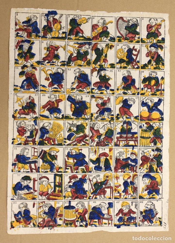 XILOGRAFIA ESTAMPADA AL BAC. AUCA CON ESCENAS DE PROFESIONES. CIRCA 1815 (Arte - Xilografía)