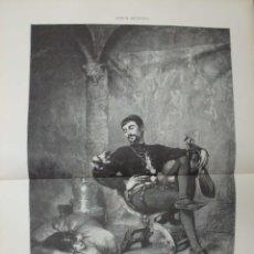 Arte: XILOGRAFIA: JOVEN FLORENTINO JUGANDO CON UNOS GATOS. CUADRO DE GUSTAVO COURTOIS G-ILUSESP-038. Lote 179400585