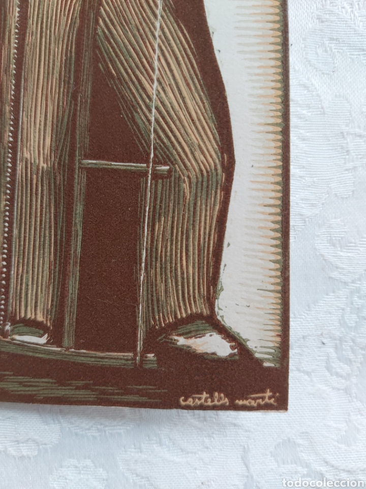 Arte: POSTAL DIPTICO XILOGRAFIA AL CAMAFEU ORIGINAL DE JOAN CASTELLS I MARTI 1960 - Foto 2 - 183091848