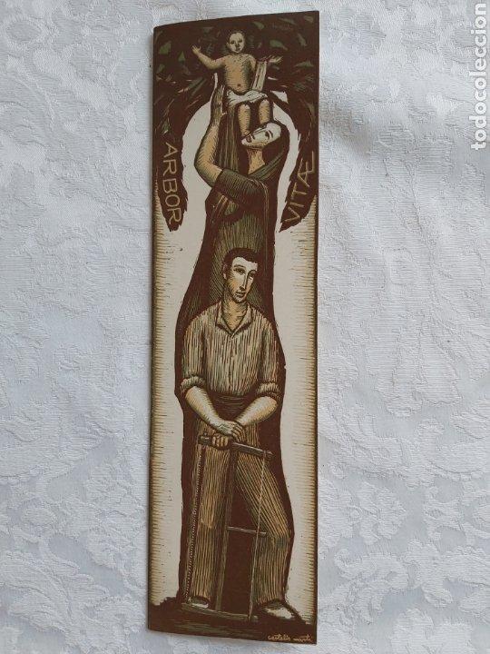 POSTAL DIPTICO XILOGRAFIA AL CAMAFEU ORIGINAL DE JOAN CASTELLS I MARTI 1960 (Arte - Xilografía)