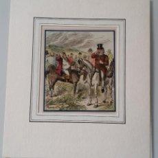 Arte: ESCENAS DE CAZA A CABALLO, 7 GRABADOS XILOGRÁFICOS COLOREADOS, FIRMADOS Y FECHADOS, 1863. Lote 185960912