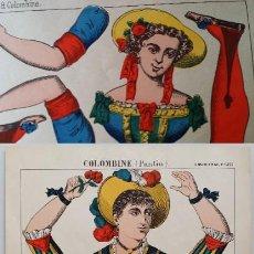 Arte: 3 XILOGRAFÍAS RECORTABLES COLOMBINE, RARAS, 1880. Lote 188469866