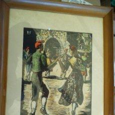 Arte: LA SARDANA XILOGRAFIA- DEL GRABADOR – CASTELLS I MARTÍ FIRMADA Y DATADA.. Lote 191606943