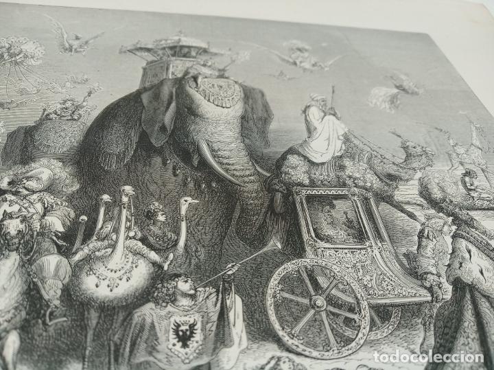 Arte: Bonita Xilografía de los cuentos de Perrault, Gustave Doré. 1ª ed. Hebert s, París, 1862, 37x 27 cm. - Foto 3 - 192959143