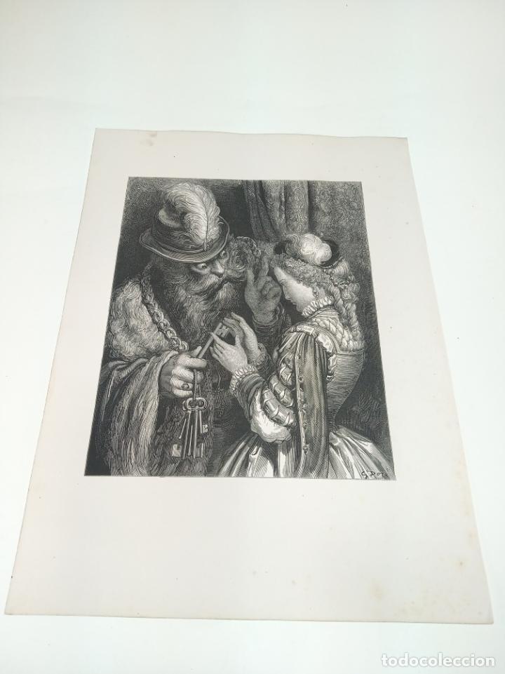 Arte: Bonita Xilografía de los cuentos de Perrault, Gustave Doré. 1ª ed. Hebert s, París, 1862, 37x 27 cm. - Foto 2 - 192959328