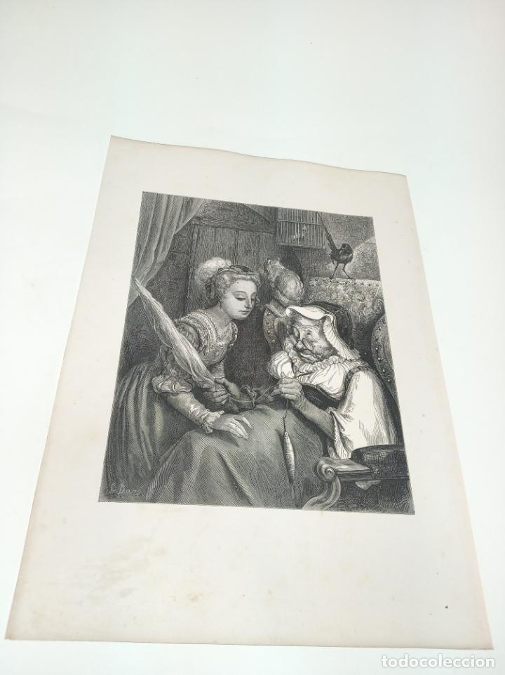 Arte: Bonita Xilografía de los cuentos de Perrault, Gustave Doré. 1ª ed. Hebert s, París, 1862, 37x 27 cm. - Foto 2 - 192959358