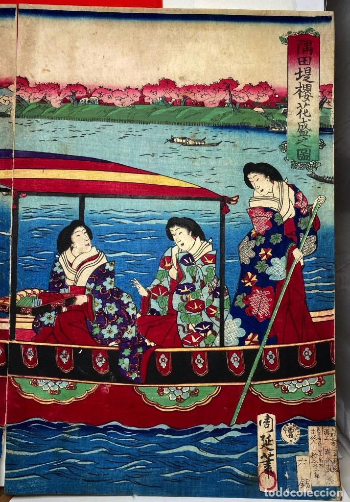 Arte: TOYOHARA CHIKANOBU Xilografía Original - Foto 2 - 193614332