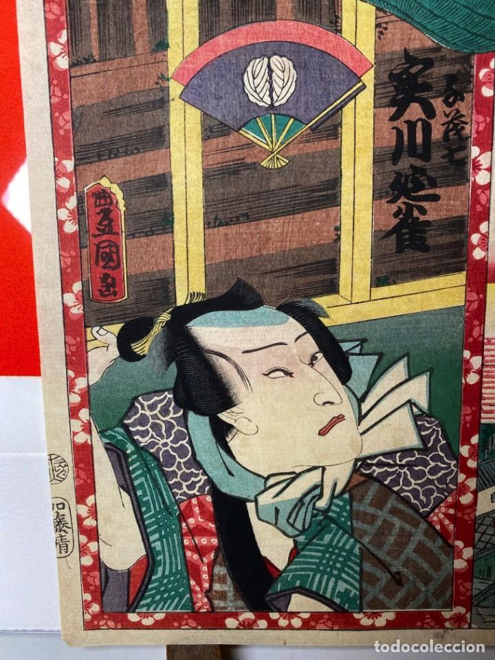 Arte: UTAGAWA TOYOKUNI III Xilografía Original - Foto 4 - 193615647