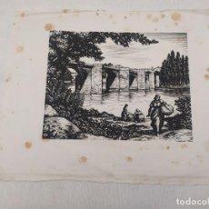 Arte: XILOGRAFÍA. OLLER PINELL. LAVADORAS EN EL PUENTE. // XILOGRAFIA. OLLER PINELL. 14/60. Lote 193798871