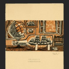 Arte: CELEDONIO PERELLÓN . XILOGRAFIA SEASON'S GREETINGS. 1960 . FIRMADO. Lote 195928408
