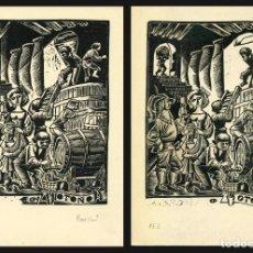 Arte: CELEDONIO PERELLÓN. 2 XILOGRAFIAS PRUEBAS DE ESTADO. OTOÑO. Lote 195932842