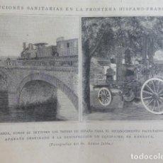 Arte: IRUN GUIPUZCOA PUENTE SOBRE EL BIDASOA TRAMITES SANITARIO XILOGRAFIA 1890. Lote 200736418