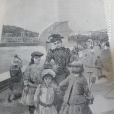 Arte: SAN SEBASTIAN EL VERANEO XILOGRAFIA 1890. Lote 200754947