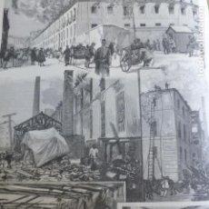 Arte: MADRID INCENCIO FABRICA DE TABACOS EMBAJADORES XILOGRAFIA 1890. Lote 200817410