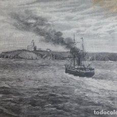 Arte: ISLA DE ALBORAN ESTACION DE CABLE GUERRA DEL RIF XILOGRAFIA 1893. Lote 201327021