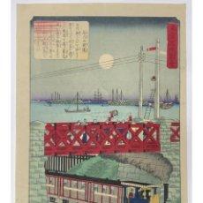 Arte: TREN DE VAPOR ATRAVESANDO YATSUYAMA (HIROSHIGE III C. 1874). Lote 210195071