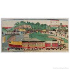 Arte: TREN ATRAVESANDO LA COLINA DE YATSUYAMA - UTAGAWA KUNITERU. Lote 210195328