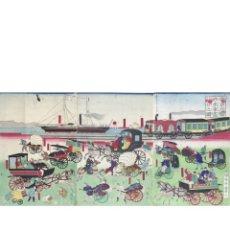 Arte: LOCOMOTORA, CARROS Y CALESAS EN TAKANAWA (KUNITERU 1871). Lote 210195743