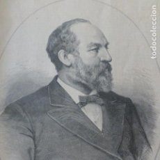 Arte: JAMES A. GARFIELD PRESIDENTE ESTADOS UNIDOS ANTIGUA XILOGRAFIA 1881. Lote 212422401