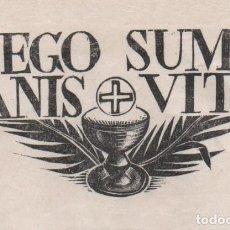 Arte: PEQUEÑA XILOGRAFÍA DE ENRIC CRISTÒFOL RICART NIN. ALEGORIA EUCARISTICA EGO SUM PANIS VITAE. Lote 214081056