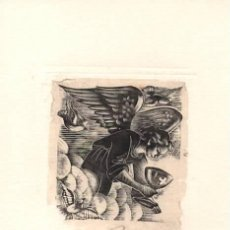 Arte: PEQUEÑA XILOGRAFÍA DE ENRIC CRISTÒFOL RICART NIN.ALEGORIA EUCARISTICA ANGEL CON CALIZ. Lote 214084846