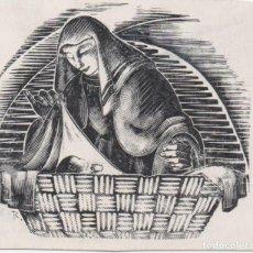 Arte: XILOGRAFÍA DE ENRIC C. RICART NIN.CHRISTUS NATUS EST NOBIS VENITE ADOREMUS . PARA EL ABAD DE POBLET. Lote 214705705