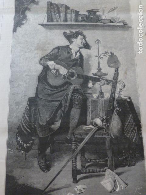 TUNO ESTUDIANTE TUNA ANTIGUA XILOGRAFIA 1881 (Arte - Xilografía)