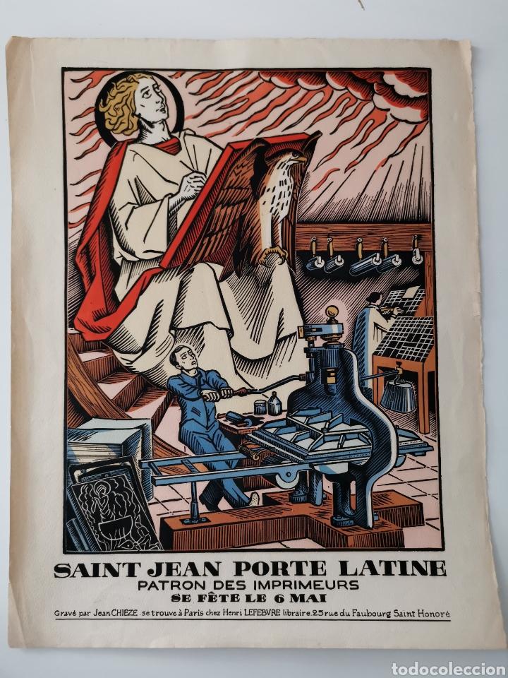 XILOGRAFÍA / GRABADO SAN JUAN DE LA PUERTA LATINA PATRÓN DE IMPRESORES DE JEAN CHIÈZE (Arte - Xilografía)