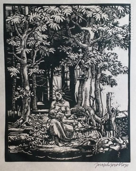 JOSEPH PROKOP: VIRGEN AMAMANTANDO. GRABADO DE 1928, FIRMADO (Arte - Xilografía)