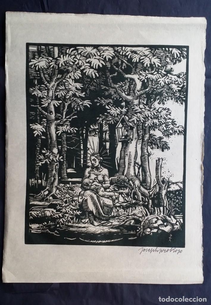 Arte: Joseph Prokop: Virgen amamantando. Grabado de 1928, firmado - Foto 2 - 222590518