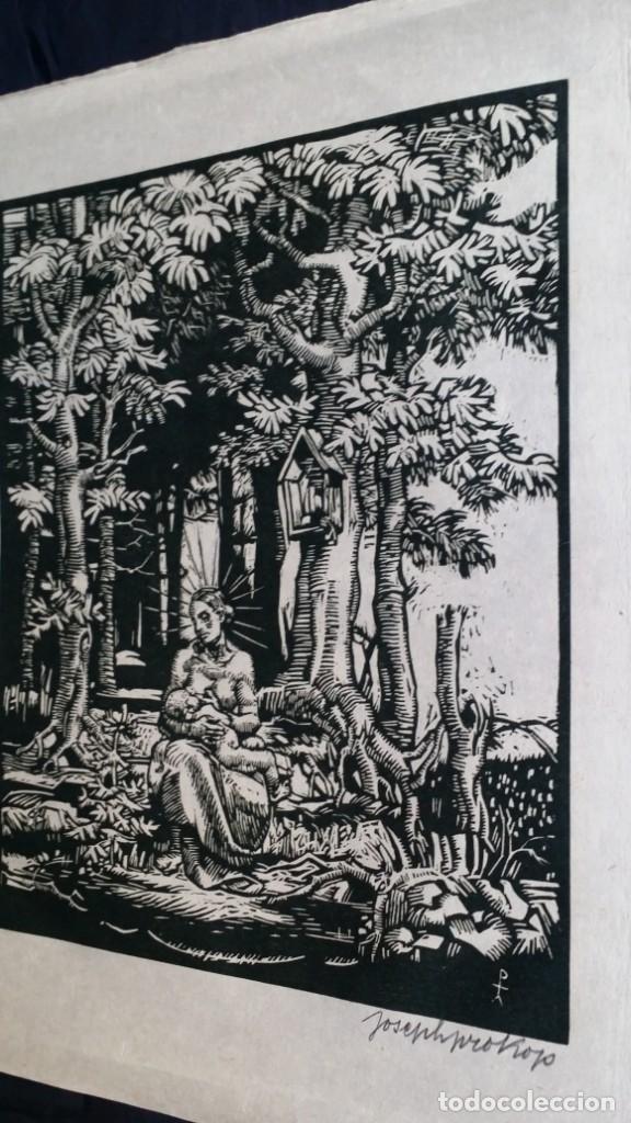 Arte: Joseph Prokop: Virgen amamantando. Grabado de 1928, firmado - Foto 7 - 222590518