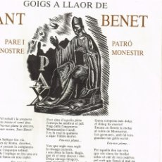 Arte: 1983 GOIGS A LLAOR DE SANT BENET DEDICAT A MARE MARIA CECÍLIA BOQUÉ I DALMAU, O. S. B. MONTSERRAT. Lote 224324158