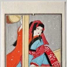 Arte: MARAVILLOSO GRABADO ORIGINAL JAPONÉS, RETRATO BELLISIMA GEISHA, ACTRIZ KABUKI, MUY BUEN ESTADO. Lote 230981260