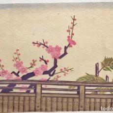 Arte: PRECIOSO GRABADO JAPONÉS ORGINAL DE PRINCIPIOS DEL SIGLO XX, PAISAJE FLORES DE UN CEREZO 38 X 25. Lote 231965735