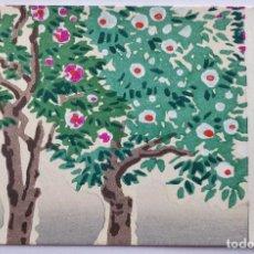 Arte: EXQUISITO GRABADO JAPONÉS ORIGINAL, CEREZO CON PRECIOSOS COLORES, XILOGRAFÍA, BUEN ESTADO. Lote 233266375