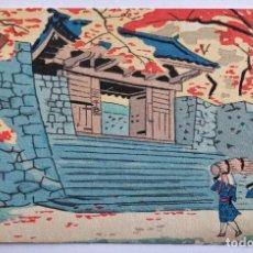 Arte: EXQUISITO GRABADO JAPONÉS ORIGINAL, ENTRADA TEMPLO, CEREZO PRECIOSOS COLORES, XILOGRAFÍA BUEN ESTADO. Lote 233267790